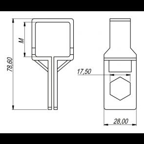Abraçadeira Para Tubo Quadrado Barra Seca com Conector Quadrado para Mangueira Magnojet 40mm (M249)