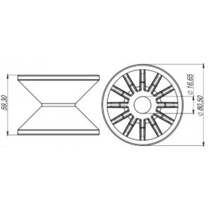 Roldana do Quadro Produzida em Nylon com Fibra Magnojet (M620/2)