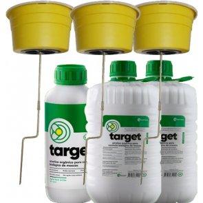 3 Armadilhas e 12 Litros de Atrativo Orgânico para Controle Biológico de Moscas Domésticas, Varejeiras e do Estábulo - Target