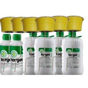 6 Armadilhas e 24 Litros de Atrativo Orgânico para Controle Biológico de Moscas Domésticas, Varejeiras e do Estábulo - Target