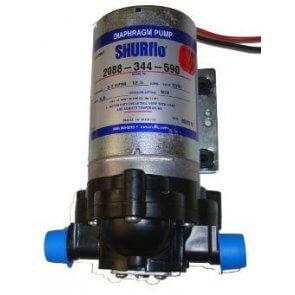 Bomba de Diafragma Elétrica Shurflo 2088-344-590 12V com Manômetro e Regulador de Pressão