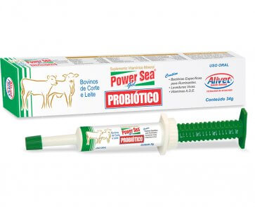 Pasta Probiótica para Bovinos Power Sea Alivet Seringa 34g - Canal Agrícola