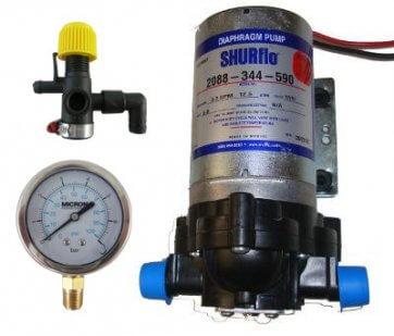 Bomba de Diafragma Elétrica Shurflo 2088-344-590 12V com Manômetro e Regulador de Pressão - Canal Agrícola