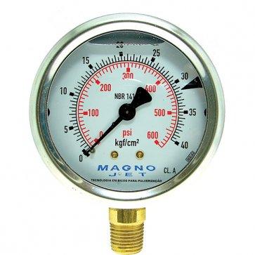 Manômetro Magnojet  0 a 500 PSI (M614) - Canal Agrícola