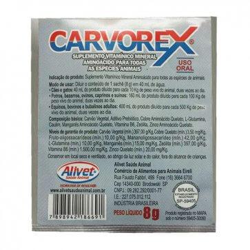 Suplemento Vitamínico com Carvão Ativado Carvorex Pet Alivet Sachê 8g - Canal Agrícola