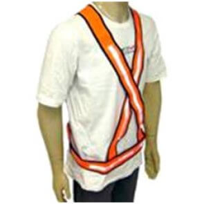"Colete Refletivo de PVC ""X"" Laranja e Branco Plastcor (515011005) - Canal Agrícola"