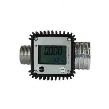 Medidor Digital de Linha em Alumínio para Fluidos Rosca 1 pol BSP 120 l/min